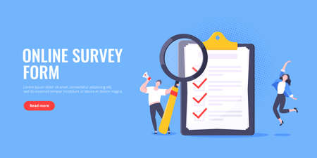 Checklist complete business concept tiny people with megaphone, magnifying glass nearby giant clipboard, task done and check mark ticks flat style design vector illustration isolated white background. Ilustración de vector