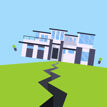 Earthquake house insurance concept flat style vector illustration. House jumping from earthquake and ground with the cracks. Natural disaster accident. Protect your building property from damage.