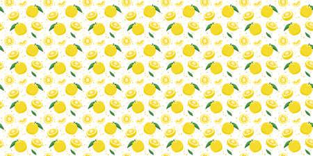 Yuzu japanese citron fruit seamless pattern vector illustration isolated on white background. Full, half and sliced citrus yuzu fresh fruit seamless texture. 矢量图像