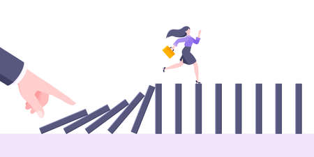 Domino effect or business cowardice metaphor vector illustration concept. Adult young businesswoman run away from hand falling domino line business concept problem solving and danger chain reaction. 矢量图像
