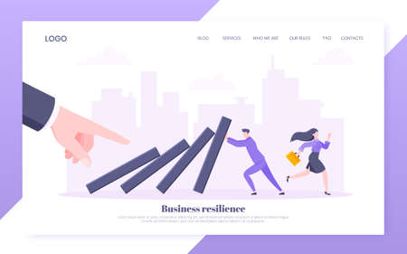 Business resilience or domino effect metaphor vector illustration. Giant hand starts chain reaction of falling domino line and businessman trying to stop it. Problem solving stopping chain reaction.