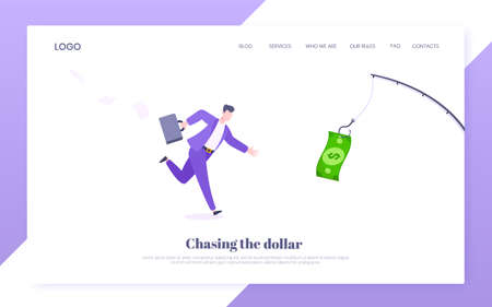 Money chase business concept with businessman running after dangling dollar and trying to catch it. Working hard and always busy in the loop routine flat style design vector illustration. 矢量图像