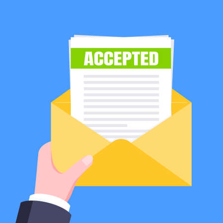 College or university acceptance letter with envelope and paper sheets document email. Job employment offer, college acceptance success or business email form flat style design vector illustration. 矢量图像