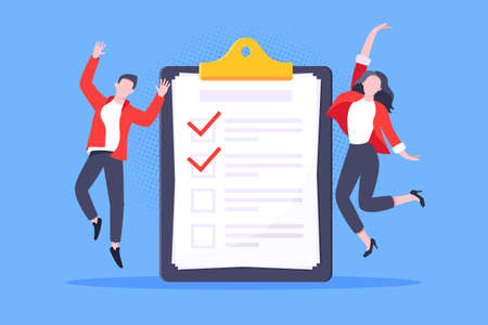 Checklist complete business concept tiny people jumping in the air nearby giant clipboard, task done and check mark ticks flat style design vector illustration isolated white background.