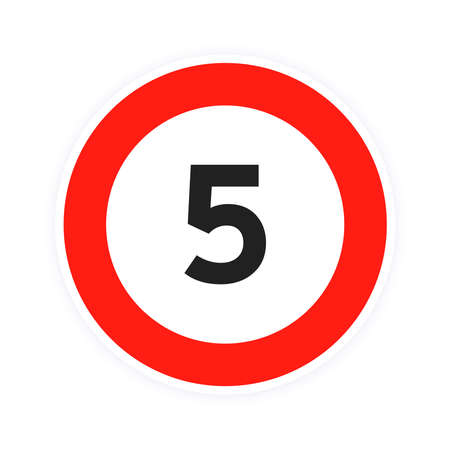 Speed limit 5 round road traffic icon sign flat style design vector illustration isolated on white background. Circle standard road sign with number 5 kmh. 矢量图像