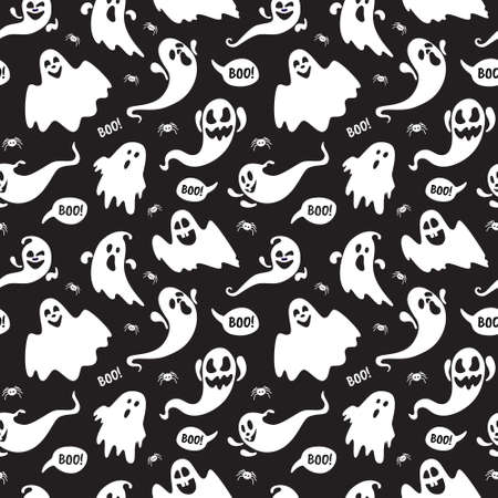 Cute ghost boo holiday character seamless pattern flat style design vector illustration set isolated on dark background. Halloween haunted boo spooky symbol flying above the ground.