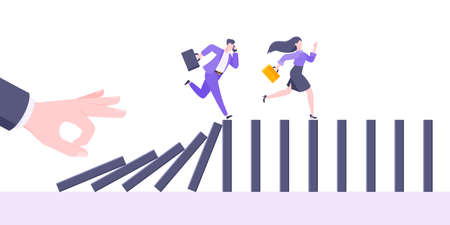 Domino effect or business cowardice metaphor vector illustration concept. Adult young business people run away from hand falling domino line business concept problem solving and danger chain reaction.