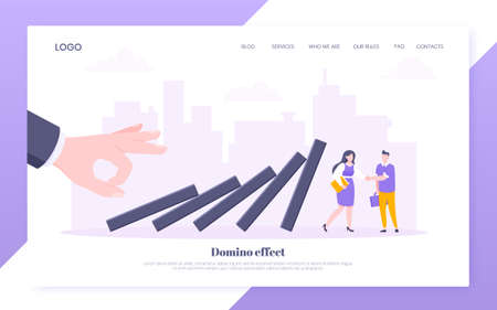 Domino effect or business resilience metaphor vector illustration concept. Business people shaking hands near falling domino line concept of problem solving and stopping chain reaction