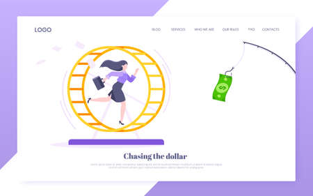Rat race business concept with businesswoman running after rod dangling dollar in the hamster wheel working hard, always busy flat style design vector illustration. Tired workaholic loop routine.