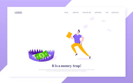 Money trap business concept. Young adult businessman running to catch the coin money in the steel bear trap flat style design vector illustration. Metaphor of greedy financial risk and bad solutions.