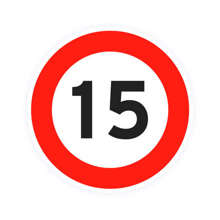 Speed limit 15 round road traffic icon sign flat style design vector illustration isolated on white background. Circle standard road sign with number 15 kmh. 矢量图像