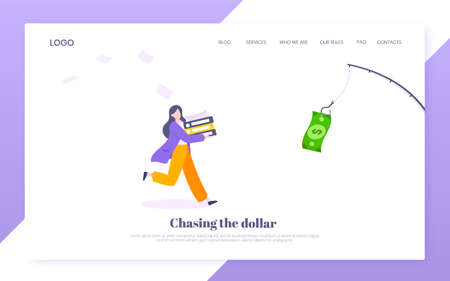 Money chase business concept with businesswoman running after dangling dollar and trying to catch it. Working hard and always busy in the loop routine flat style design vector illustration.