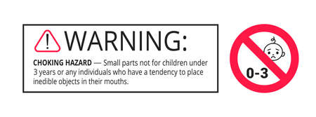 Choking warning hazard forbidden sign sticker not suitable for children under 3 years isolated on white background vector illustration. Warning triangle and examination mark, sharp edges.