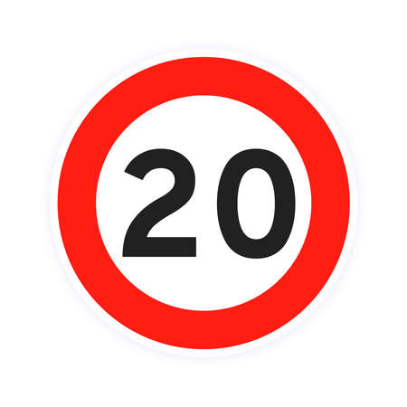 Speed limit 20 round road traffic icon sign flat style design vector illustration isolated on white background. Circle standard road sign with number 20 kmh.