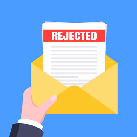 College or university reject letter with envelope and paper sheets document email. Job employment offer, college acceptance reject or business email form flat style design vector illustration. 矢量图像