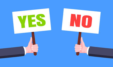 Hands hold yes and no words banner plate business concept flat style design vector illustration. Demonstration placard banner or test choice voting dispute. 矢量图像