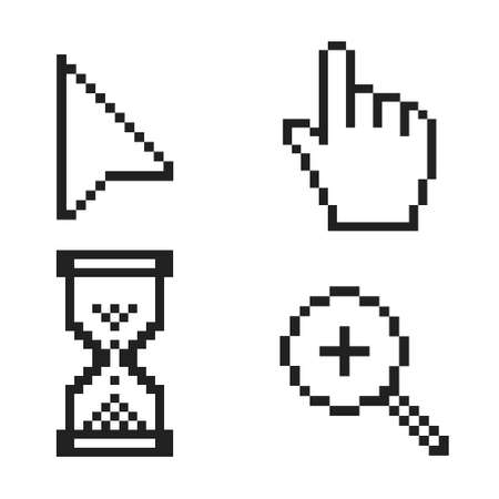 Black and white pixel arrow, hand, magnifier and hourglass pixel mouse cursor icons vector illustration set flat style design isolated on white background.