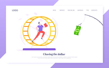 Rat race business concept with businessman running after rod dangling dollar in the hamster wheel working hard, always busy flat style design vector illustration. Tired workaholic in the loop routine. 矢量图像