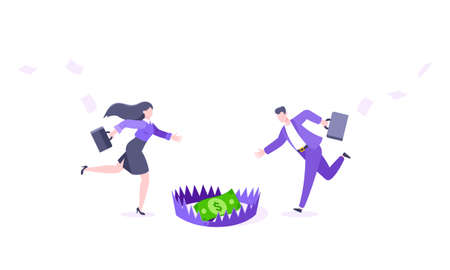 Money trap business concept. Young adult people running to catch the coin money in the steel bear trap flat style design vector illustration. Metaphor of greedy financial risk and bad solutions.