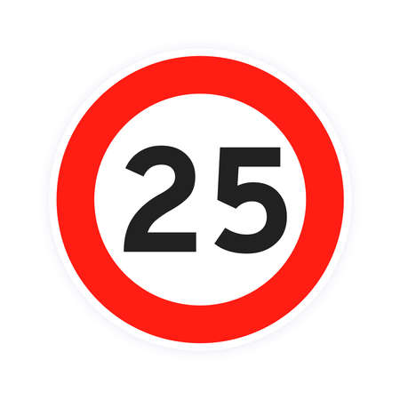 Speed limit 25 round road traffic icon sign flat style design vector illustration isolated on white background. Circle standard road sign with number 25 kmh.