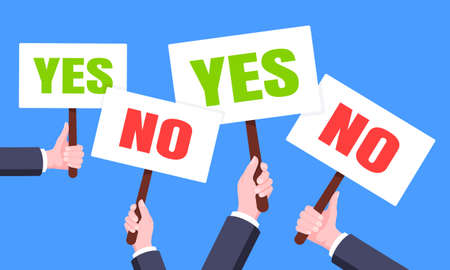 Hands hold yes and no words banners plate business concept flat style design vector illustration. Demonstration placard banner or test choice voting dispute.