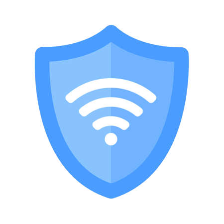 Wireless shield VPN wifi icon sign flat design vector illustration. Wifi internet signal symbols in the security shield isolated on white background. 矢量图像