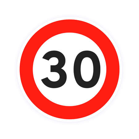 Speed limit 30 round road traffic icon sign flat style design vector illustration isolated on white background. Circle standard road sign with number 30 kmh.