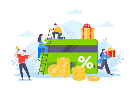 Get loyalty card and customer service business concept flat design vector illustration. Earn loyalty program points and get online reward and gifts. Tiny people with big card and gift box. 矢量图像