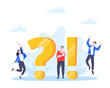 Q and A or FAQ concept with tiny people characters, big question and exclamation mark, frequently asked questions template. Answers business support concept flat style design vector illustration. 矢量图像