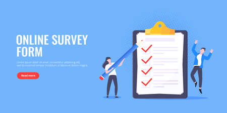Checklist complete business concept tiny people with pencil nearby giant clipboard, task done and check mark ticks flat style design vector illustration isolated white background.