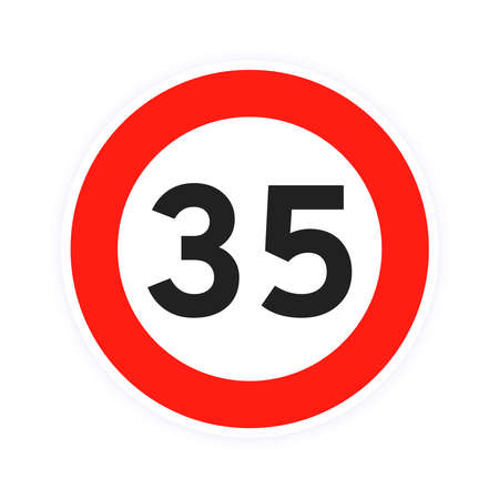 Speed limit 35 round road traffic icon sign flat style design vector illustration isolated on white background. Circle standard road sign with number 35 kmh.