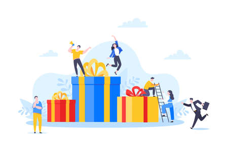 Earn loyalty program points, get online reward and gifts. Get loyalty card and customer service business concept flat design vector illustration. Tiny people with big card and money.