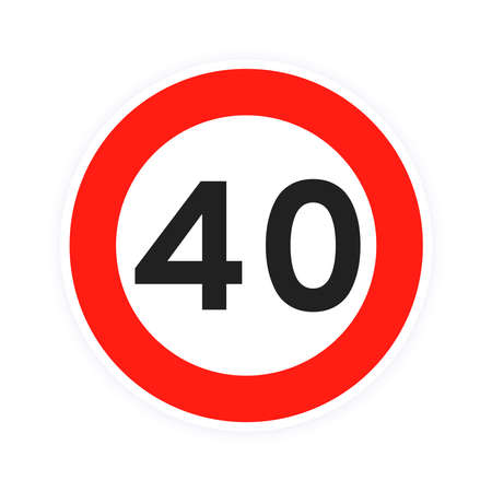 Speed limit 40 round road traffic icon sign flat style design vector illustration isolated on white background. Circle standard road sign with number 40 kmh.