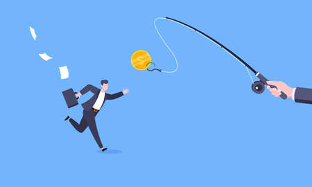 Fishing money chase business concept with businessman running after dangling dollar and trying to catch it. Working hard and always busy in the loop routine flat style design vector illustration. 矢量图像