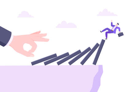 Domino effect or business crisis metaphor vector illustration concept. Adult young businessman falls down from hand falling domino line business concept problem solving and danger chain reaction.