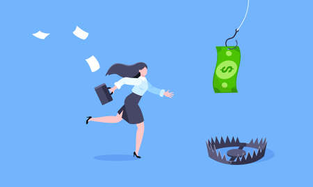 Fishing money chase business concept with businesswoman running after dangling dollar and trying to catch it. Working hard and always busy in the loop routine flat style design vector illustration.