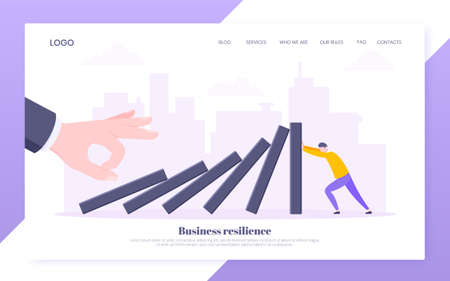 Business resilience or domino effect metaphor vector illustration. Giant hand starts chain reaction of falling domino line and businessman trying to stop it. Problem solving stopping chain reaction. Vektorové ilustrace