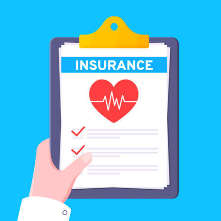 Clipboard with medical insurance claim form on it, paper sheets, doctor hand flat style design vector illustration. Concept of fill out or online survey healthcare insurance application form.