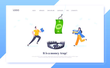 Fishing money chase business concept with business people running after dangling dollar and trying to catch it. Working hard and always busy in the loop routine flat style design vector illustration. Vektoros illusztráció