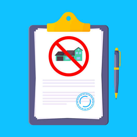 Eviction notice legal document on the clipboard with stamp, paper sheets and a pen vector illustration flat style design. Notice to vacate form eviction credit debt real estate business concept.