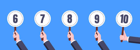 Hand hold round score card banner plate with numbers 6, 7, 8, 9, 10 business concept flat style design vector illustration. Votes jury judges of tournament or contest.