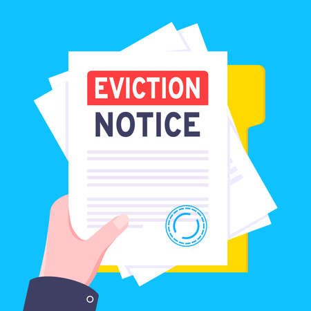 Hand holds eviction notice legal document with stamp, paper sheets and file vector illustration flat style design. Notice to vacate form eviction credit debt real estate concept.