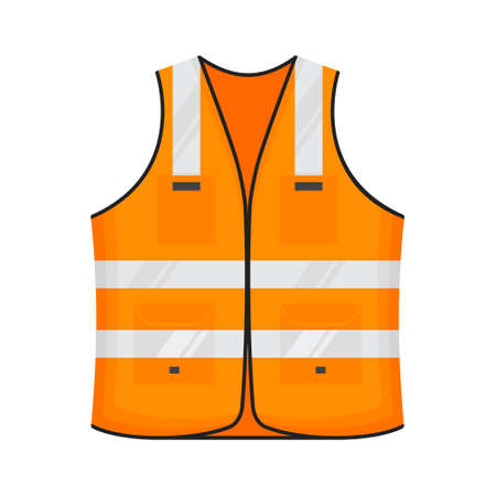 Safety reflective vest icon sign flat style design vector illustration. Orange fluorescent security safety work jacket with reflective stripes. Front view road uniform vest isolated white background.
