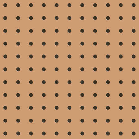 Metal Peg board perforated texture background material with round holes seamless pattern board vector illustration. Wall structure for working bench tools.
