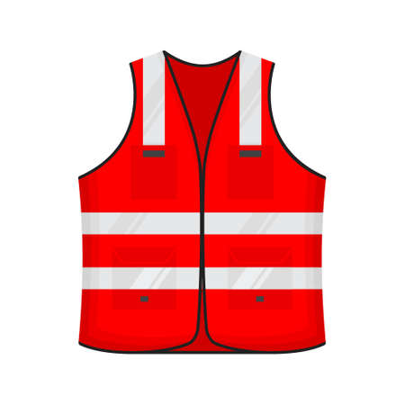 Safety reflective vest icon sign flat style design vector illustration. Red colored fluorescent security safety work jacket reflective stripes. Front view road uniform vest isolated white background.