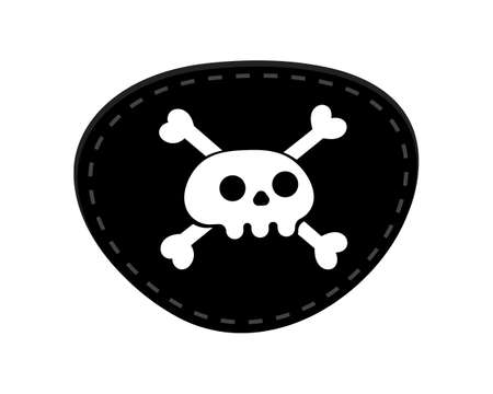 Pirate eye patch icon sign flat style design vector illustration isolated on white background. Black eye patch with skull and bones symbols. Vector Illustratie