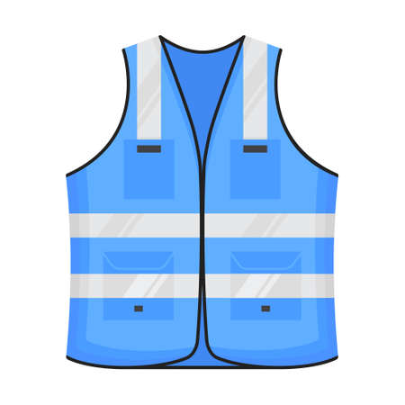 Safety reflective vest icon sign flat style design vector illustration. Blue colored fluorescent security safety work jacket reflective stripes. Front view road uniform vest isolated white background. Vektoros illusztráció