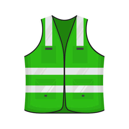 Safety reflective vest icon sign flat style design vector illustration. Green colored fluorescent security safety work jacket reflective stripes. Front view road uniform vest isolated white background