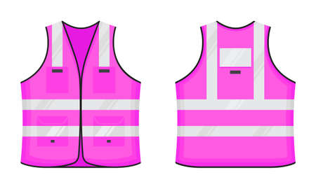 Safety reflective vest icon sign flat style design vector illustration set. Pink fluorescent security safety work jacket with reflective stripes. Front and back view road uniform vest.