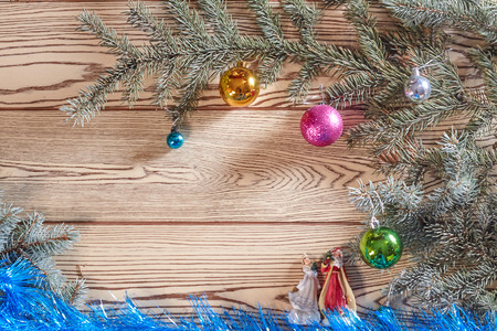 'grandfather frost': Christmas card background with a space for text on a wooden surface and decorated with fir branches Stock Photo